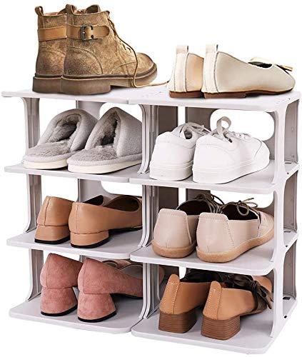 LUBANC Organizador de Zapatero de 4 Niveles, combinación Libre de Bricolaje, Estante de plástico para Zapatos, Organizador de Almacenamiento de Zapatos, Que Ahorra Espacio, Organizador de Zapatos