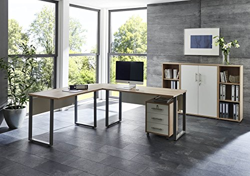 BMG Möbel Arbeitszimmer komplett Set PRO Office (Set 2) mit Winkelschreibtisch, Rollcontainer und Highboard in Eiche Sonoma/Weiß abschliessbar, Metallgriffe, Made in Germany