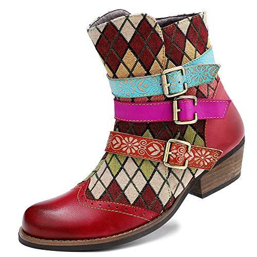 Bohemian Casual Caviglia Stivali per La Donna Stile Etnico retrò in Vera Pelle con Zip Stivali da Donna Scarpe,Rosso,37