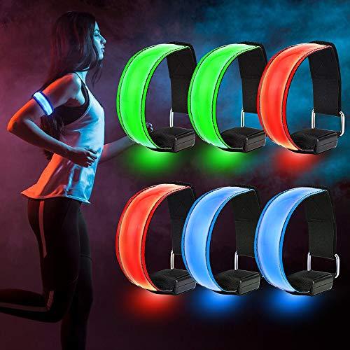 Sporgo LED Armband, 6 Stück Reflektorband LED Leucht Armbänder Reflective Lichtband Kinder Nacht Sicherheits Licht Reflektor für Laufen Joggen Hundewandern Running Outdoor Sports (6PCAK)