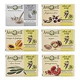 Set de jabón de aceite de oliva Afrodita. Set de 6 piezas con jabones naturales, elaborado sin sustancias químicas ni grasas animales