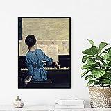Kit de pintura al óleo de bricolaje por número para mujer jugando piano acrílico pintura kit para adultos principiantes