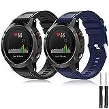 TOPsic Garmin Fenix 5 Banda, Silicona Reemplazo Correa para Garmin Fenix 5 / Forunner 935 / Fenix 5 Plus Smart Watch, 13.5cm-22.5cm, no Adapta a Fenix 5X, 5s (Negro + Azul Medianoche-a)