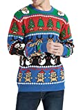 Daisyboutique Men's Christmas Rudolph Reindeer Holiday Sweater Cardigan Cute Ugly Pullover (Small, Reindeer-Santa-More)