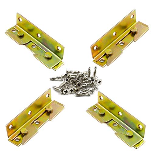ZXHAO 4 Sets Bed Rail Brackets, Non-Mortise Bed Rail Fittings Bed Frame Brackets for Headboard and Footboard (with Screws)