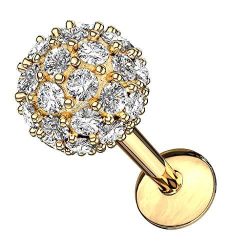 Piercingfaktor Piercing Stab mit Kristall Stein Lippe Ohr Labret Tragus Helix Knorpel Stecker Lippenpiercing Ohrpiercing 8mm Gold