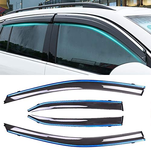 2015 Wind Deflectors Dark Smoke Tinted Acrylic Glass Door Side Windows WeatherShields Visors Rain Snow Sun Guards AC WOW 2x compatible with Caddy 2003