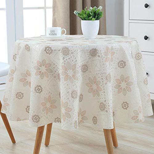 Traann Plastic tafelkleed schoonmaken, Round Wipe Clean, vinyl/kunststof tafelkleed effen linnen textuur slaapkamer decoratie 120