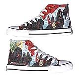 NXMRN Naruto Par De Zapatos De Anime Pintados A Mano, Zapatos Vulcanizados para Mujer, Zapatos De Lona, Zapatos De Skate, Zapatos Deportivos-37