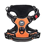 PoyPet No Pull Dog Harness, No Choke Front Lead Dog Reflective Harness, Adjustable Soft Padded Pet Vest with Easy Control Handle for Small Medium Large Dogs(Orange,L)