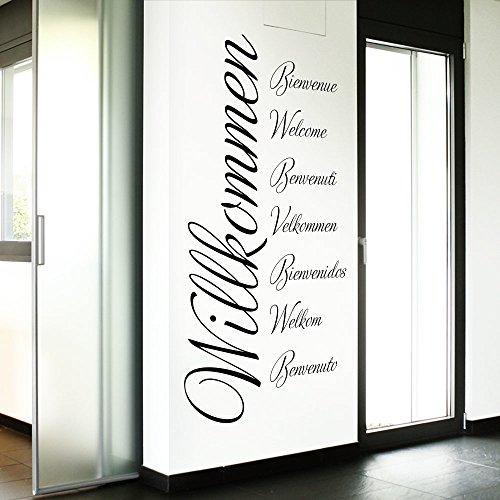 Grandora Wandtattoo Wort Willkommen in 8 Sprachen I schwarz (BxH) 80 x 161 cm I Flur Diele selbstklebend Aufkleber Wandaufkleber Wandsticker Sticker W3014