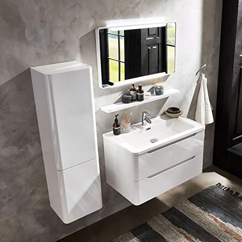 Moebella Madrid - Juego de muebles de baño con lavabo (85 cm, 5 piezas, con espejo LED y estante lateral), color blanco brillante