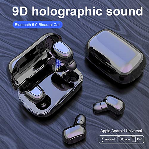 Creamon TWS audífonos Bluetooth 5.0, audífonos Bluetooth 5.0, TWS 9D Shock Holographic Sound Mini Wireless Sports Headset