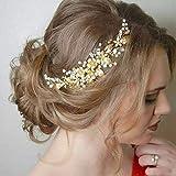Simsly Peineta para el pelo de novia, diseño de flores, accesorio para el pelo para mujeres y niñas (dorado)