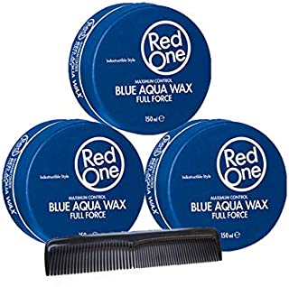 RedOne Maximum Control Aqua Hair Wax Blue Full Force 150 ml 3 unidades + Gratis Peine de bolsillo para peinar pomadas
