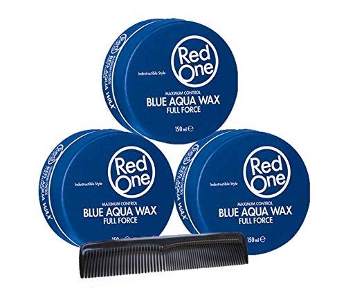 RedOne Maximum Control Aqua Hair Wax Blue Full Force 150ml 3 Stück + GRATIS Taschenkamm Stylingkamm Pomadenkamm