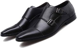 Scarpe Oxford in Pelle Punta Quadrata Scarpe Eleganti da Uomo con Doppia Fibbia Scarpe da Sposa Maschili Scarpe da Lavoro ...