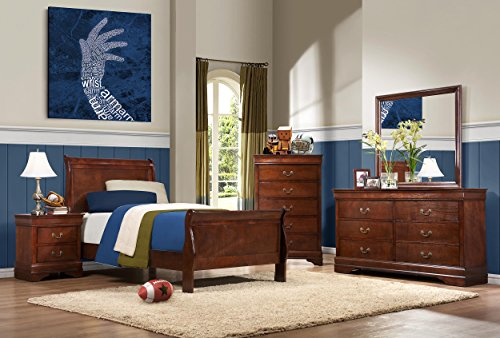 Homelegance Quincy Sleigh Panel Bed, Twin, Cherry