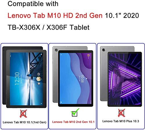 AsWant Lenovo Tab M10 HD 2 Gen Hülle PU Folio Flip Brieftasche Hülle Magnetverschluss Tablet Hülle mit Stifthalter für Lenovo Tab M10 HD 2 Generation 10.1 Zoll TB-X306X/TB-X306F - Blitzschmetterling
