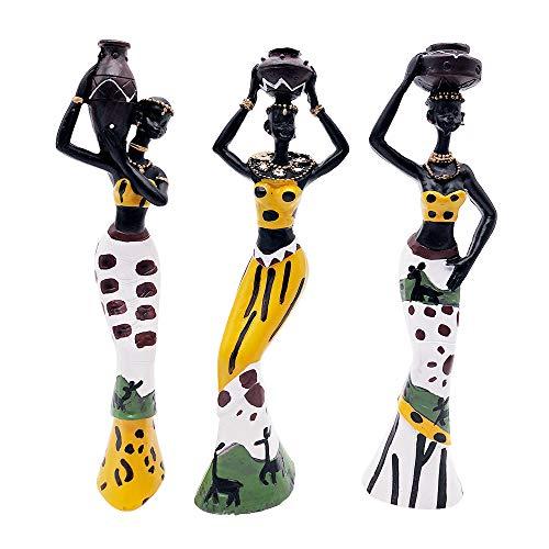 MonLiya 3 Stück afrikanische Skulptur, Frauenfigur Mädchen Tribal Lady Figur Statue Dekor Sammlerstück Kunststück Mensch Dekorative Zuhause Schwarze Figuren Kreative Handwerk Puppen Ornamente