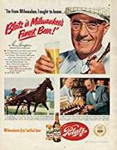 Harness racing driver Guy Crippen says Blatz is Milwaukee's Finest Beer ad 1951