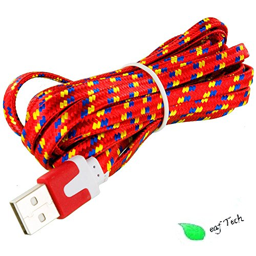 Leaf Tech 10 Feet 3M USB Data Sync Charger Cable Cord for Samsung, HTC, LG & All Android Devices (Red)