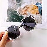 SHENY Occhiali da Sole Quadrati con Strass Occhiali da Sole Donna con Lenti Trasparenti Diamante Oversize per Uomo tonalità Vintage Un