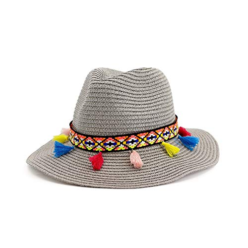 YUXINXIN Unisex Straw Hat Schipper Zomer Hoeden for Vrouwen Mannen Panama Hat Jazz Cap Red Band Wide Brim Woven Sun Beach Cap fedora (Color : Gray, Size : 56-58cm)