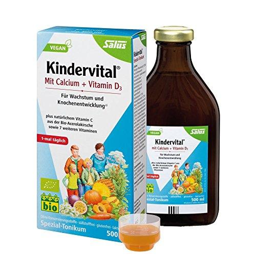 Salus Kindervital mit Calcium + Vitamin D3 – Spezial-Tonikum für Wachstum und Knochenentwicklung – vegan – 500 ml