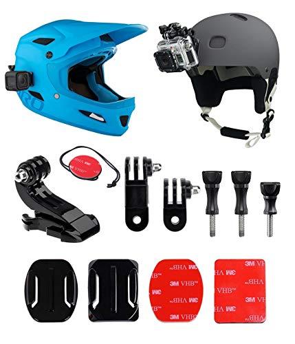 Gopro Helmet Mount Front + Kit laterale, include fibbia a gancio a J, clip rapida, 3m adesivi. Compatibile con Gopro Hero 7, 6, 5, 4, 3, 2, sessione.