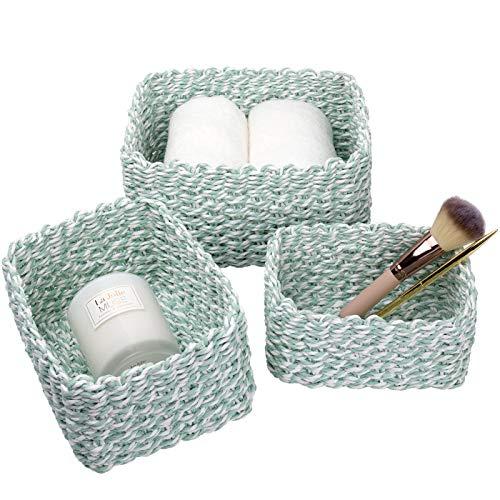 La Jolíe Muse Aufbewahrungskorb, 3er Set aus gewebtem recyclebarem Papierseil, Aufbewahrungsboxen für Accessoires Schminke Mint grün und weiß