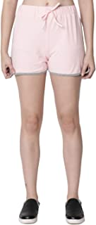 RUTE Women's Cotton Pink Self Tie Waist Mid Loose Shorts for Women's & Girls with Plus Size