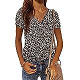 Primavera y Verano Moda Slim Pullover Estampado de Leopardo Escote en v Manga Corta Blusa Estampada Mujer