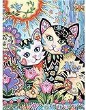 FNBN DIY Pintar por números para Adultos e niños Dibujos Animados Digital Gato Pintura DIY Pintura al óleo Set de Regalo Lienzo Artista hogar Navidad decoración sin Marco para Adultos y niños