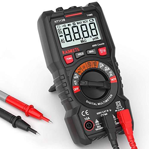 Digital Multimeter, KAIWEETS® Strommessgerät Auto Ranging True RMS 4000 Counts, Messung von AC/DC Spannung, Strom, Widerstand, Diode, Durchgangsprüfung, Battrietester für Zuhause, KfZ etc.