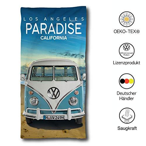 VW Bulli Handtuch 75x150 cm | VW Bulli Geschenke | VW Bus Paradise Beach Badetuch Baumwolle | Camping Strandtuch Volkswagen T1 T2 T3