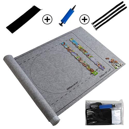 Deeabo Puzzlematte, Puzzle Pad Für Puzzles bis 1500 Stück, Tragbare Puzzles Mat Spielmatte Puzzles Decke, Grau