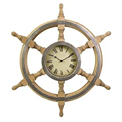 CC Home Furnishings 26 Nautical Boat Wheel Rustic Wall Clock with Roman Numerals