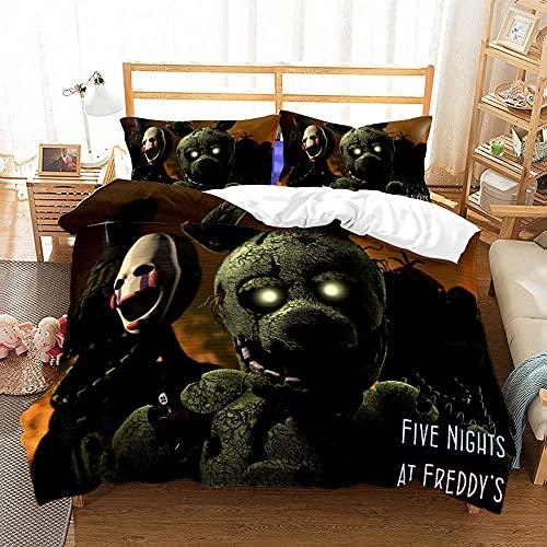 F-ive Nights at F-reddys - Funda de edredón de animación 3D, antiarrugas y antidecoloración, ropa de cama de fácil cuidado, lavable a máquina, juego de cama de 3 piezas (X07, Doble200 x 200 cm)