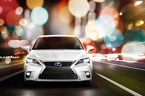 "Lexus CT 200h (2014) Car Art Poster Print on 10 mil Archival Satin Paper White Front Closeup Motion View 36""x24"""