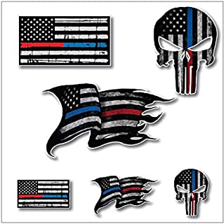 Pack of 6 THIN BLUE AND RED LINE to show support for Police and Firemen Decal Sticker Firefighter American Flag Vinyl Punisher Skull Tattered Distressed Fallen Officer Thin Blue Line Car Truck Graphic