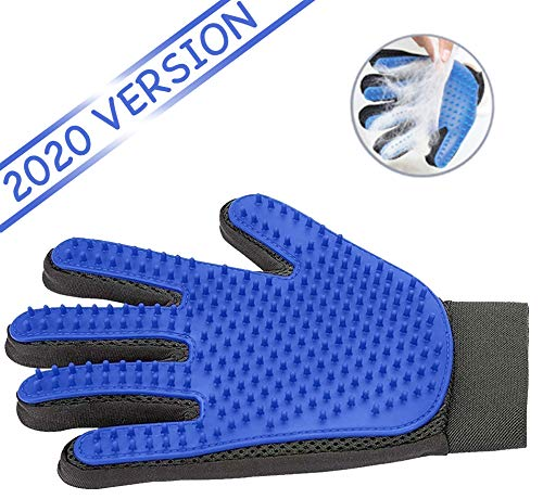 Ravazzi Pet Grooming Glove - Gentle Deshedding Brush Glove - Best Pet Hair Remover Mitt - Perfect for Dog or Cat with Long or Short Fur - 1 Pair Blue