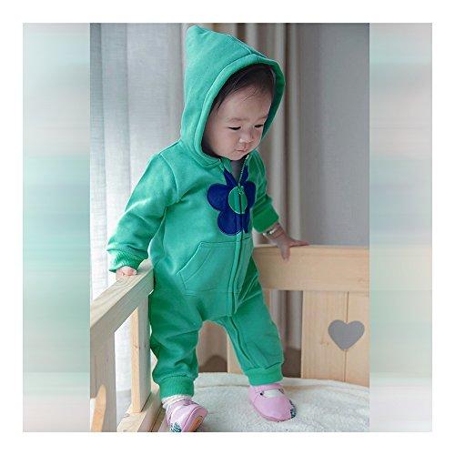 0-1-2 jaar 0-24 maanden infant baby jongens meisjes unisex kleding infant babykleding kledingset One-piece Coat Verdikkend Warm Jumpsuits Rompers ondergoed bloem blauw groen 90cm multicolor
