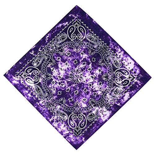 ruiruiNIE Gradient Tie-Dye Estampado Floral de Paisley étnico 50x50 CM Unisex Algodón Sport Pañuelo Cuadrado pañuelo Bandana Bandana Hip-Hop - 4# - Morado