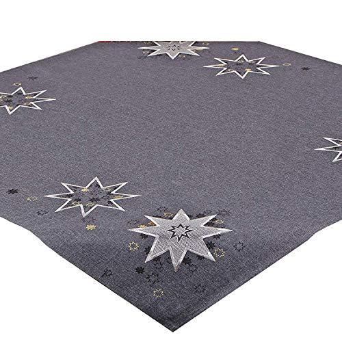 Tischdecke WEIHNACHTSSTERNE grau, 85x85 cm, Moderne Mitteldecke zu Weihnachten