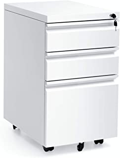 White Mobile 3 Drawer Filing Cabinet 26 Inch Locking Rolling File Cabinet with 5 Wheels Pedestal Filing Cabinet for Office Home Metal White A