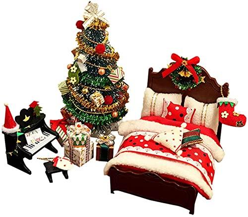 MWKL Lujoso Kit de casa de muñecas navideñas de Madera para Bricolaje, Muebles...