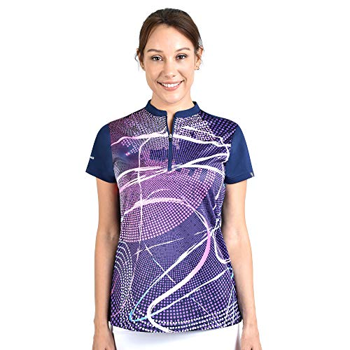 SAVALINO Women's Bowling Shirts, Professional Bowling Jerseys, Ladies Tops S-4XL (3XL, Navy)