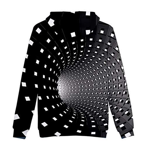 Rikay Mens Magic Digital Printed Hoodies HD 3D Print Pullover Lightweight Sweatshirts Pockets 5 Patterns Size S-4XL Black
