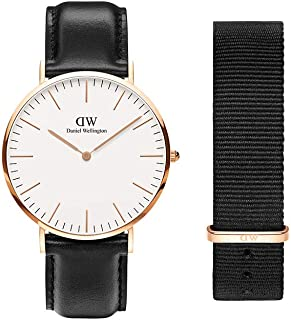 Daniel Wellington Gift Set, Classic Sheffield 40mm Rose Gold Watch with Cornwall Nato Strap